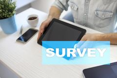 Survey text on virtual screen. Feedback and customers testimonials. Business internet and technology concept. Survey text on virtual screen. Feedback and royalty free stock photo