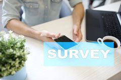 Survey text on virtual screen. Feedback and customers testimonials. Business internet and technology concept. Survey text on virtual screen. Feedback and royalty free stock image