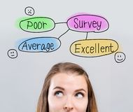 Survey theme with young woman royalty free stock image