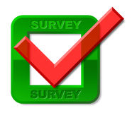 Survey Tick Indicates Confirmed Mark And Surveying Stock Photos