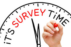 It Is Survey Time Concept. Hand writing It`s Survey Time on drawn clock with marker pen on transparent glass board royalty free stock images