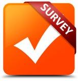 Survey (validate icon) orange square button red ribbon in corner Stock Image