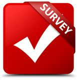 Survey (validate icon) red square button red ribbon in corner Stock Image