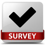 Survey (validate icon) white square button red ribbon in middle Royalty Free Stock Photos