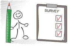 Survey vector concept. Stickman answer questions from the survey. Questionaire with checkboxes illustration. Survey vector concept. Stickman answer questions Stock Image