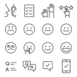 Survey Vector Line Icon Set. Contains such Icons as Emoji, Emoticon, Quiz and more. Expanded Stroke royalty free illustration