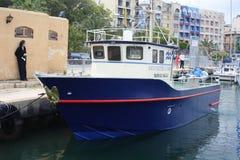 Malta Maritime Authority Survey vessel. A survey vessel belonging to the Maltese Maritime Authority moored in Marsamxett Harbour in Valletta, Malta Stock Photo