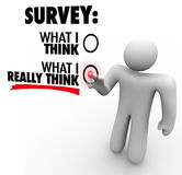 Survey - What I Really Think Answers Touch Screen Response Stock Photo