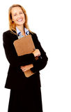 Survey woman clipboard Royalty Free Stock Image