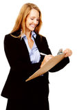 Survey woman clipboard. Business woman with a clipboard taking notes on a survey. smile and happy women stock photos