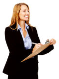 Survey woman clipboard. Business woman with a clipboard taking notes on a survey. smile and happy women royalty free stock photography