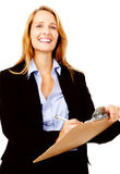 Survey woman clipboard. Business woman with a clipboard taking notes on a survey. smile and happy women stock photo