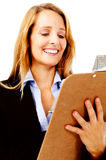 Survey woman clipboard Stock Image