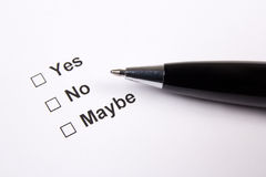 Survey with yes, no, maybe answers and pen Royalty Free Stock Photography