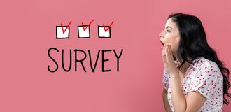 Survey with young woman speaking royalty free stock photography