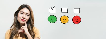 Survey with young woman stock photography