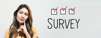Survey with young woman royalty free stock photos