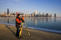 Surveying in Chicago Stock Photo