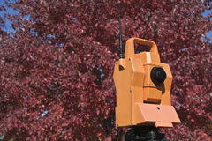 Surveying during colorful fall Royalty Free Stock Photography