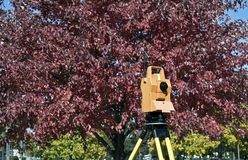 Surveying during colorful fall Royalty Free Stock Image