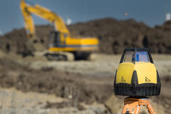 Surveying equipment at construction site Royalty Free Stock Image