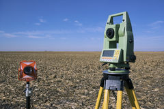 Surveying Equipment in the field Stock Photography