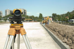 Surveying equipment to infrastructure Stock Photo