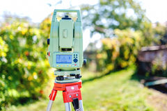 Surveying equipment with transit total station and theodolite Stock Photos
