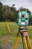 Surveying Instruments, close up. Surveying Total Station and prism in canefields stock image