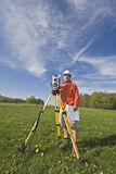 Surveying with theodolite Stock Images