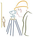 Surveyor. Isolated brush stroke line art work Stock Photography
