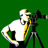Surveyor. Vector illustration of a surveyor on green background Royalty Free Stock Images