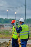 Surveyor builder worker with theodolite Royalty Free Stock Photography
