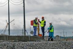 Surveyor builders worker with theodolite Stock Photos