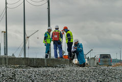 Surveyor builders worker with theodolite Stock Photo