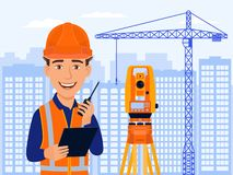 Surveyor, cartographer, cartoon smile character with total station and measurements equipment. City view, construction crane.. royalty free illustration