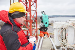 Surveyor at construction site Royalty Free Stock Photography