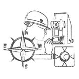 Surveyor with the device and wind rose. Surveyor with the device and the wind rose silhouette vector Stock Image