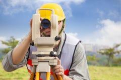 Surveyor engineer making measure data royalty free stock photos