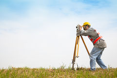 Surveyor engineer making measure Stock Image