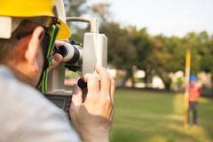 Surveyor engineer with partner Royalty Free Stock Images