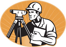 Surveyor Engineer Theodolite Total Station. Illustration of surveyor civil geodetic engineer worker with theodolite total station equipment set inside ellipse Stock Image