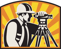 Surveyor Engineer Theodolite Total Station Retro Stock Images