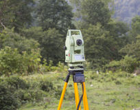 Surveyor engineering equipment with theodolite Stock Images