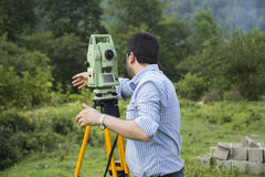 Surveyor engineering equipment with theodolite Stock Image