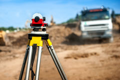Surveyor engineering equipment with theodolite Stock Photo