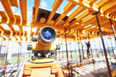 Surveyor equipment at construction site Stock Image