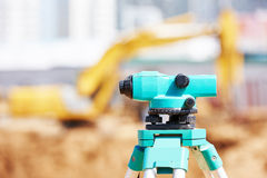 Surveyor equipment at construction site Stock Images