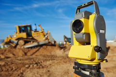 Surveyor equipment at construction site Royalty Free Stock Photography