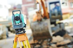 Surveyor equipment at construction site Stock Photography